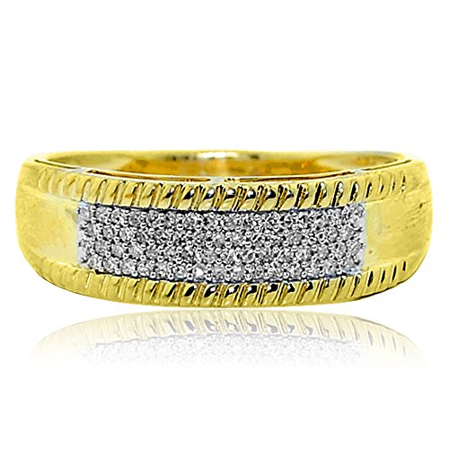 Midwest Jewellery 10k Gold His and Her Rings Set Wide 1/2ctw Diamonds