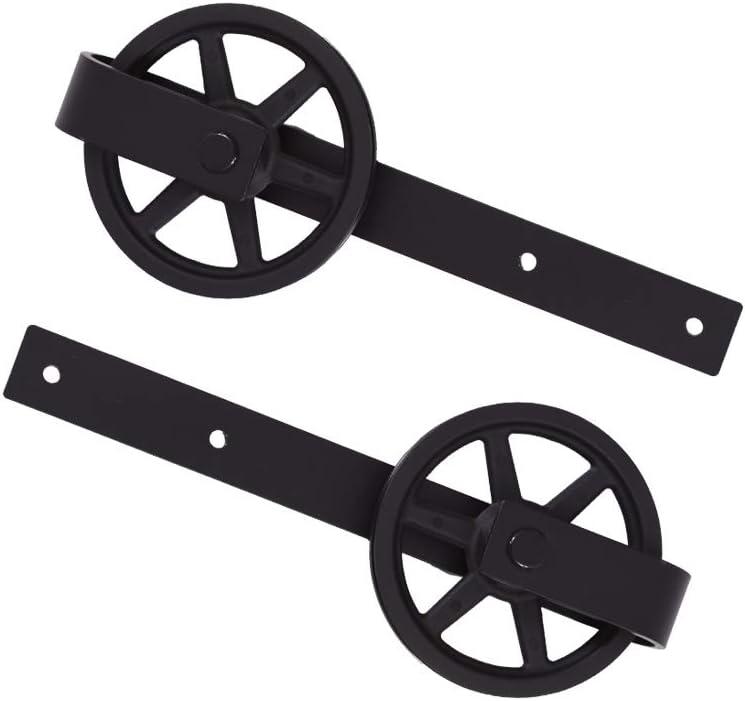 CCJH Kit Rail Coulissant Armoire Placard J Shape Big Wheel Hanger Convient /à 2 Portes Large de 77 cm Rail Porte Coulissante 305cm//10ft Noir