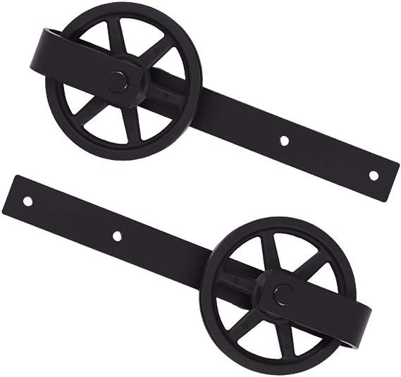 CCJH 6FT 183cm Acciaio Binario Rulli per Porta Scorrevole Kit Accessori per Una Porta Scorrevoli di Legno Stile Rustico