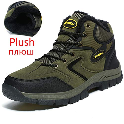 Men's Boots Work Boots Snow Boots Warm Plush Hiking Travel Boots Woodland Boots(Army Green Add Plush,8)