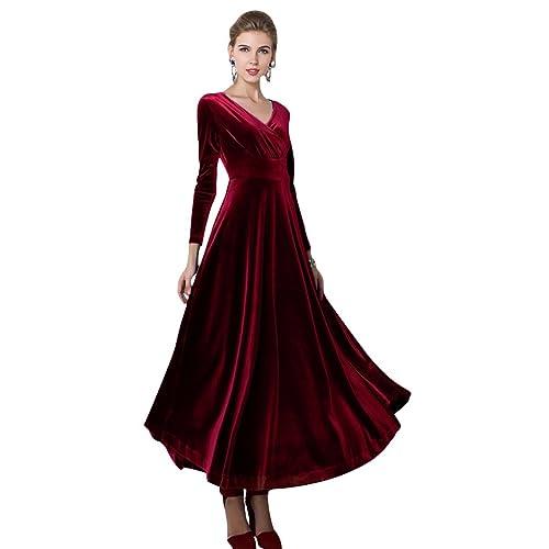 Urban GoCo Women Vintage V-Neck Velvet Stretchy Long Dress