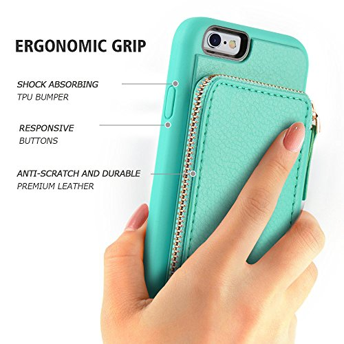 iPhone 6 Wallet Case, iPhone 6 Case with Card Holder, ZVE iPhone 6 Case with Credit Card Holder Slot & Zipper Wallet Money Pockets, Protective Cover for Apple iPhone 6 /6S 4.7 inch - Mint Green by ZVEdeng (Image #9)