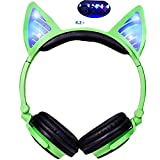 LIMSON Cat Ear Headphones for Kids with Wireless Bluetooth Earpiece LED Light Earphones Foldable Rechargeable Over-Ear Headsets LX-BL108 (Green)