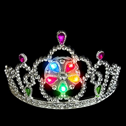 Fun Central O968 1pc LED Light Up Tiara, LED Princess Tiara, Tiaras Toys for Little Girls - Multicolor