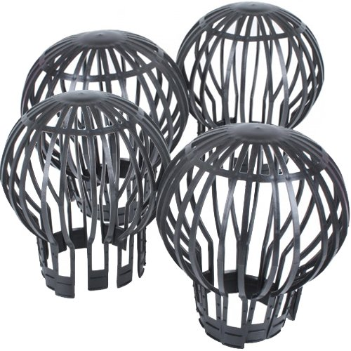 PROHEIM Set of 4 Flexible Plastic Leaf Gutter Rainwater Downpipe - Sieve Filter Leaves Protector for all common downpipes
