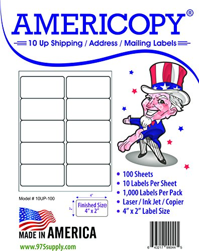 10 Up Labels - Address Labels - Americopy - Shipping / Mailing Labels - 4