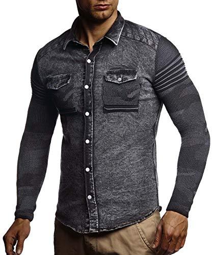 manches longuesChemise Décontractée Casual en hommes jean hommesChemise tricot Nelson slim Ln3560 Noir pour Veste Veste fit en vintage Lavé Leif pour à XN80wPZnOk