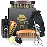 Beard Care Grooming & Trimming Kit 6 in 1 Mens Gifts - Unscented Beard Conditioner Oil, Mustache & Beard Comb, Balm Wax, Brush, Mustache Scissors Trimmer for Styling Shaping & Growth (6 pcs Set)