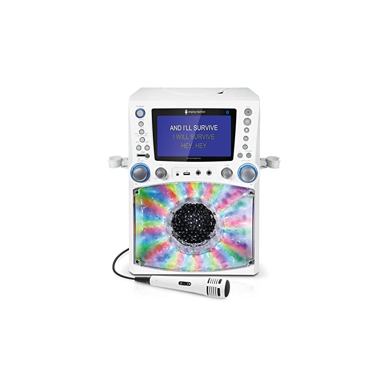 Singing Machine STVG785BTW Bluetooth Karaoke Machine with Disco Lights