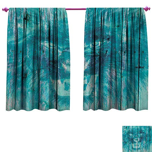 cobeDecor Animal Blackout Draperies for Bedroom Silhouette of a King Lion Tiger on Wooden Oak Planks Hippie Style Retro Image Print Patterned Drape for Glass Door W108 x L72 Cadet Blue