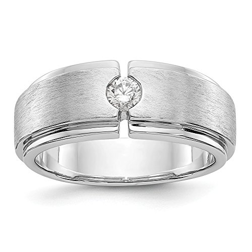 JewelrySuperMart Collection 1/4 CT 14k White Gold AA Diamond Men's Band. 0.27 ctw.