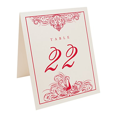 Ruby Champagne (Peacock Flourish Table Numbers, Champagne, Ruby Red, Numbered 1 through 20)