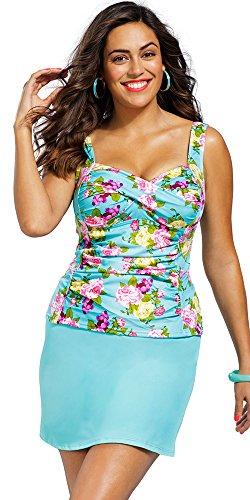 Shore Club Women's Plus Size Rosebud Shirred Slit Skirtini