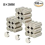 Refrigerator Magnets, Be Magnet 108 PCS Round Cylinder Magnets for Fridge Door Whiteboard Magnetic Map Magnetic Screen Door Bulletin Boards - 8X3mm