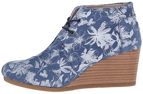 TOMS Womens Desert Wedge Blue Suede Floral 9nlEBS