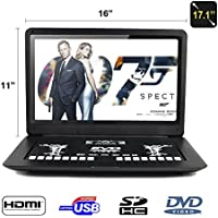 FENGJIDA 17.1portable dvd players with HDMI,SD, USB slot HD 1366x768 Digital TFT