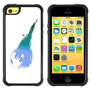LASTONE PHONE CASE / Suave Silicona Caso Carcasa de Caucho Funda para Apple Iphone 5C / Earth Planet Modern Art Ball Blue Turquoise