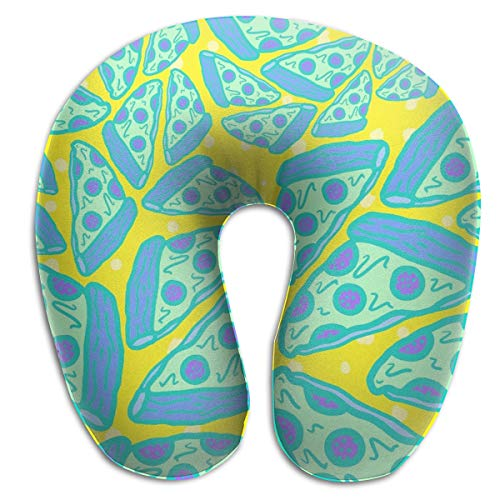 FANTASY SPACE Neck Pillow Travel Pillow Compact Pizza Pattern Pillow Neck-Supportive U Shape Pillow, Breathable & Comfortable, Travel Bus Neck Pillow Machine Washable
