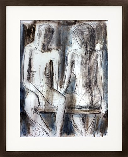 Couple Charcoal drawing Original Artistic sketch Nude Modern Figurative graphic art Woman Wall decor by IvMarART (Image #2)