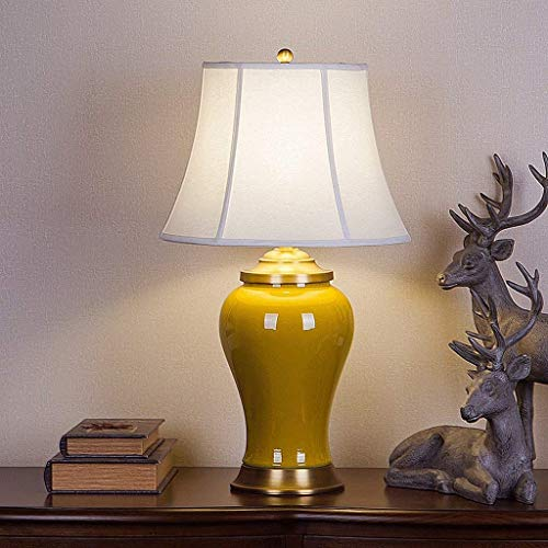 AOLI Table Lamp American Ceramic Lamp Living Room Bedroom Study High-End, Copper Base, Emerald,Style - Base Emerald