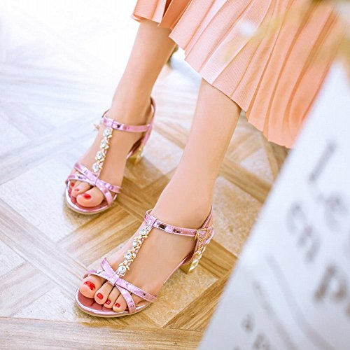 Mee Shoes Women's Chic Ankle Strap T Strap Buckle High Heel Sandals Purple zqxAcxMw