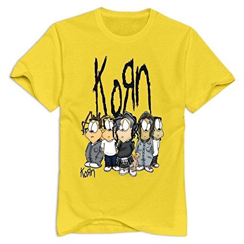 TWSY Men's Korn T-Shirt Yellow US Size L,100% Organic Cotton