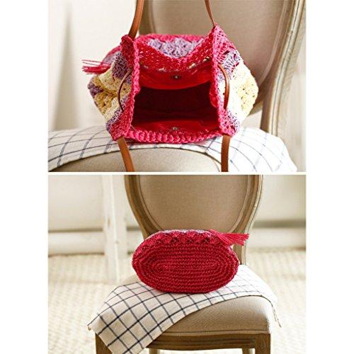 GWELL Damen Bohemia Stroh Strandtasche Schultertasche Sommer Klein Tasche Beachtasche Strohtasche Damentasche Urlaub grün rot