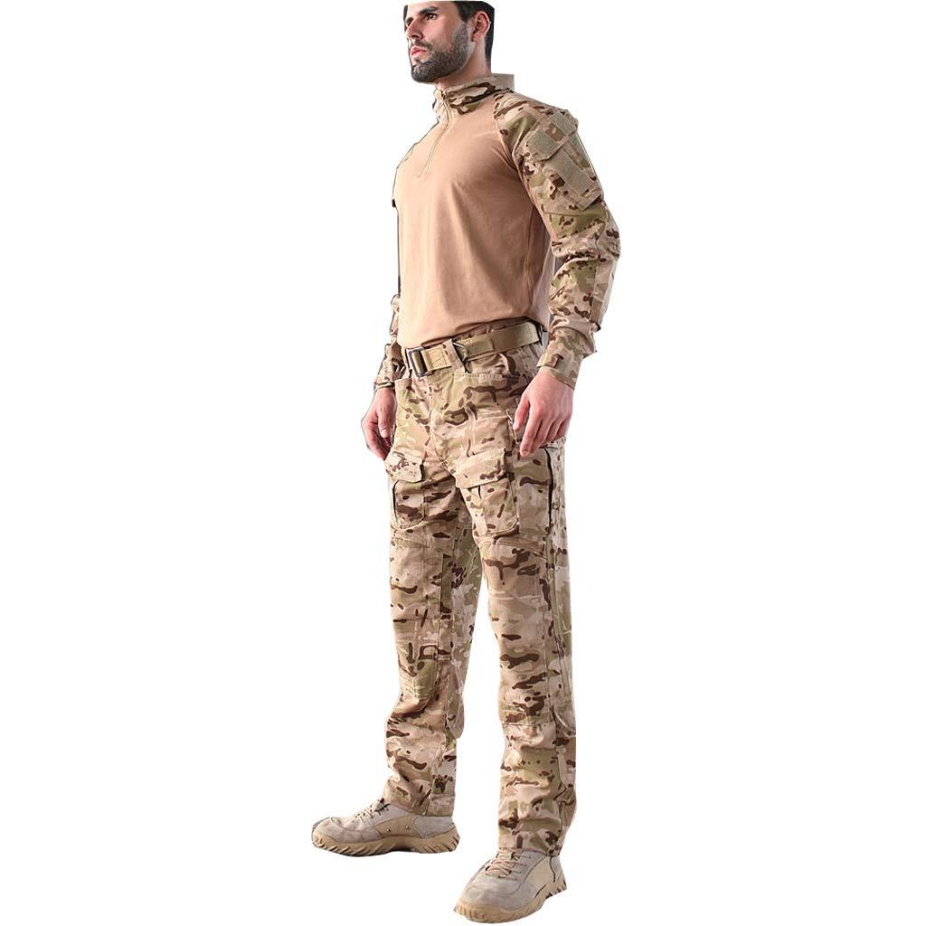 GRZP Desert Yellow Camouflage Uniform, Trainingsanzug im Freien, Echte Cs Kostüm-Requisiten, Kratzfest, tragbar, bequem, atmungsaktiv, langärmliges Hemd und Multi-Camouflage-Hose (größe : XL)