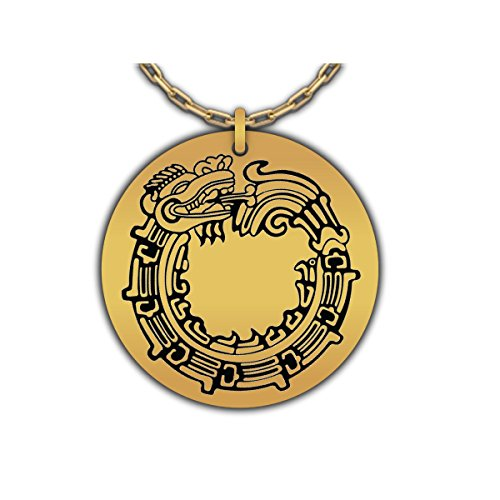Hot Fresh And Funny Mayan Medallion Necklace | Dragon Pendant, Gold-Plated Aztec Mayan Jewelry