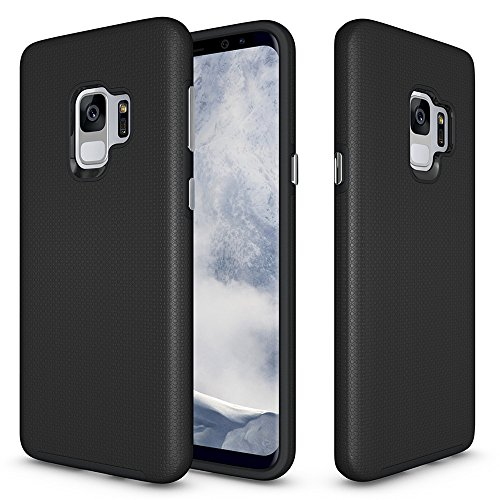 Price comparison product image Galaxy S9 Anti-skid Defender Case,  ZUERCONG Slim Dots-Rugged Nonslip Shockproof Scratch-Resistant Anti-Fingerprints Protective Bumper Case Cover For Samsung Galaxy S9 SM-G9600 5.8 inch, Black