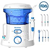 Nicefeel Electric Dental Water Flosser 600ml Capacity Quite Design(50db)Anti-leakage Professional Countertop Dental Oral Irrigator with 7 Multifunctional Tips for Adult and Kids