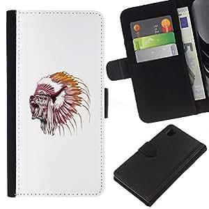 NEECELL GIFT forCITY // Billetera de cuero Caso Cubierta de protección Carcasa / Leather Wallet Case for Sony Xperia Z1 L39 // Grizzly Bear Jefe del nativo americano