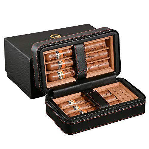 Portable Travel Leather Cigar Case,Spanish Cedar Wood Cigar Humidor Travel Case with Humidifier,Humidor Cigar Box for 6 Cigars
