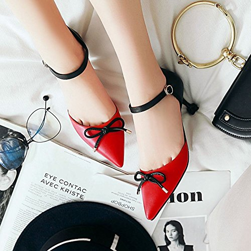 Mee Shoes Women's Charm Bow Pointed Toe Buckle Ankle Strap Court Shoes Red G5YuIhRr