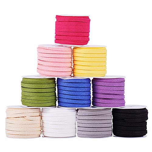 PandaHall Elite 10 Rolls 5mm Faux Leather Suede Beading Cords Lace Velvet String 5.5 Yard per Roll 10 Colors for Jewelry Making