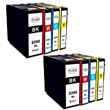 Ouguan Ink 8Pack (2BK 2C 2M 2Y) New Compatible PGI-2200XL Ink PGI-2200XL Combo Pack Black Ink Cyan Magenta Yellow Pigment Ink Cartridge for Canon MAXIFY IB4020 MB5020 MB5320 Printer