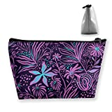 pengyong Purple Floral Makeup Bag Large Trapezoidal Storage Travel Bag Wash Cosmetic Pouch Pencil Holder Zipper Waterproof