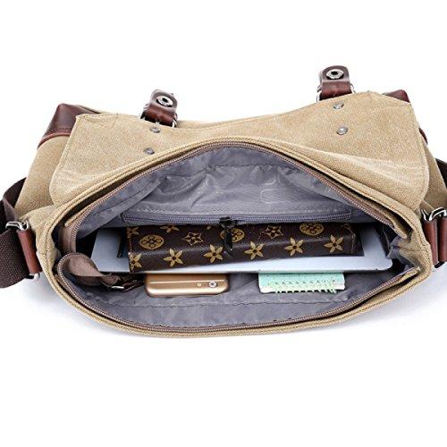 Bolsa De Trabajo De La Lona Bolsa De Mensajero De La Taleguilla Del Hombro School Bookbag Para Hombres Y Mujeres Ordenador Portátil,A-OneSize