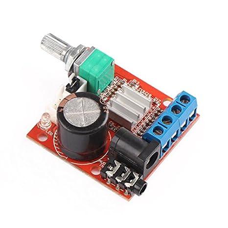 DROK PAM8610 Mini Stereo AMP 10W+10W Digital Audio Amplify Circuit Class D 12V DC Portable Low Power Ampli Module Dual Channel Amplifier DIY for PC Speaker Car Automotive 12 Volt Amplifier Board