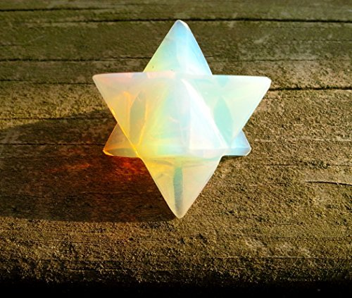 "Opalite Merkaba Star ""Stone of Eternity"" Energy Healing Meditation Tool Sacred Geometry Tetrahedron Crystal Gemstone Altar Decor Spiritual Gifts"