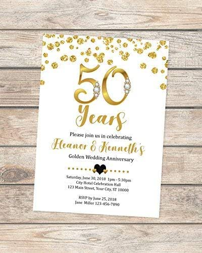 50th Wedding Anniversary Invitation Black And Gold 50th Anniversary Invitation Golden Anniversary Invite 50th Golden Wedding Anniversary