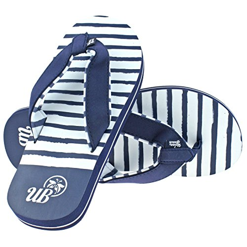 Urban Beach Ladies KALAHEO Navy Blue & White Flip Flops Toe Post Beach Sandals -UK 4 (EU 37)