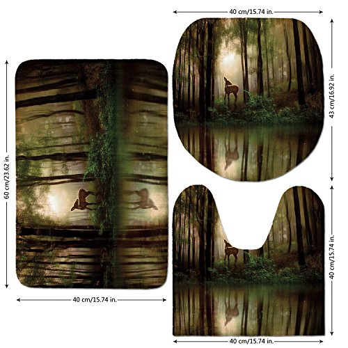 3 Piece Bathroom Mat Set,Nature,Baby Deer in the Forest with Reflection on Lake Foggy Woodland Graphic,Fern Green Cocoa Brown,Bath Mat,Bathroom Carpet Rug,Non-Slip (Rug Ferns Brown)
