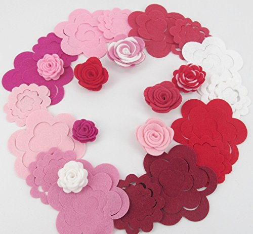 32 Wool Blend Felt 3D Roses Die Cut Applique Flowers - Roses Are Red OTR Felt Made in USA