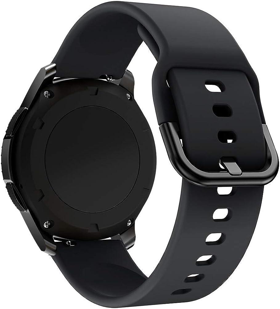 Bracelet de Montre Universel 22 mm, Bande de Remplacement en Silicone Souple à libération Rapide pour Galaxy Watch 46mm, Forerunner 645, Huawei GT, TicWatch Pro Noir+jaune