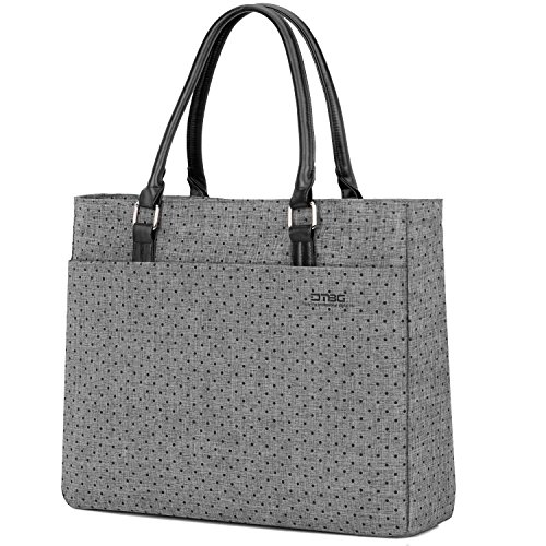 Grey Bags Dot - Laptop Tote Bag, DTBG 15.6 Inch Women Shoulder Bag Nylon Briefcase Casual Handbag Laptop Case For 15-15.10 Inch Tablet/Ultra-book/Macbook/Chromebook (Grey+Black Dot)