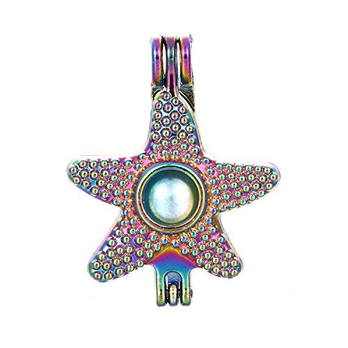 10pcs Colored Starfish Pearl Beads Cage Locket Pendant-Add Your Own Pearls, Stones, Crystals, Rock to Cage, Add Perfume or Essential Oil to Create a Scent Diffusing Locket Pendant Charms (Starfish)