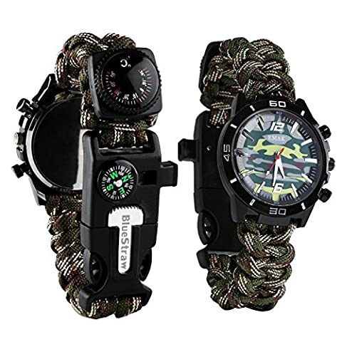 Survival Bracelet Watch, Men/Women Waterproof Emergency Survival Watch with Paracord Whistle Fire Starter Scraper Compass and Thermometer, 6 in 1 Multifunctional Outdoor Gear (Multifunctional Watch)