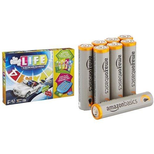 The Game of Life Electronic Banking with Amazon Basics AAA Batteries Bundle