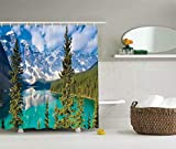 KANATSIU Sight Moraine Lake Rocky Mountains Tall Foliage Trees View Shower Curtain 12 Plactic Hooks,100% Made Polyester,Mildew Resistant & Machine Washable,Width x Height is 72X72